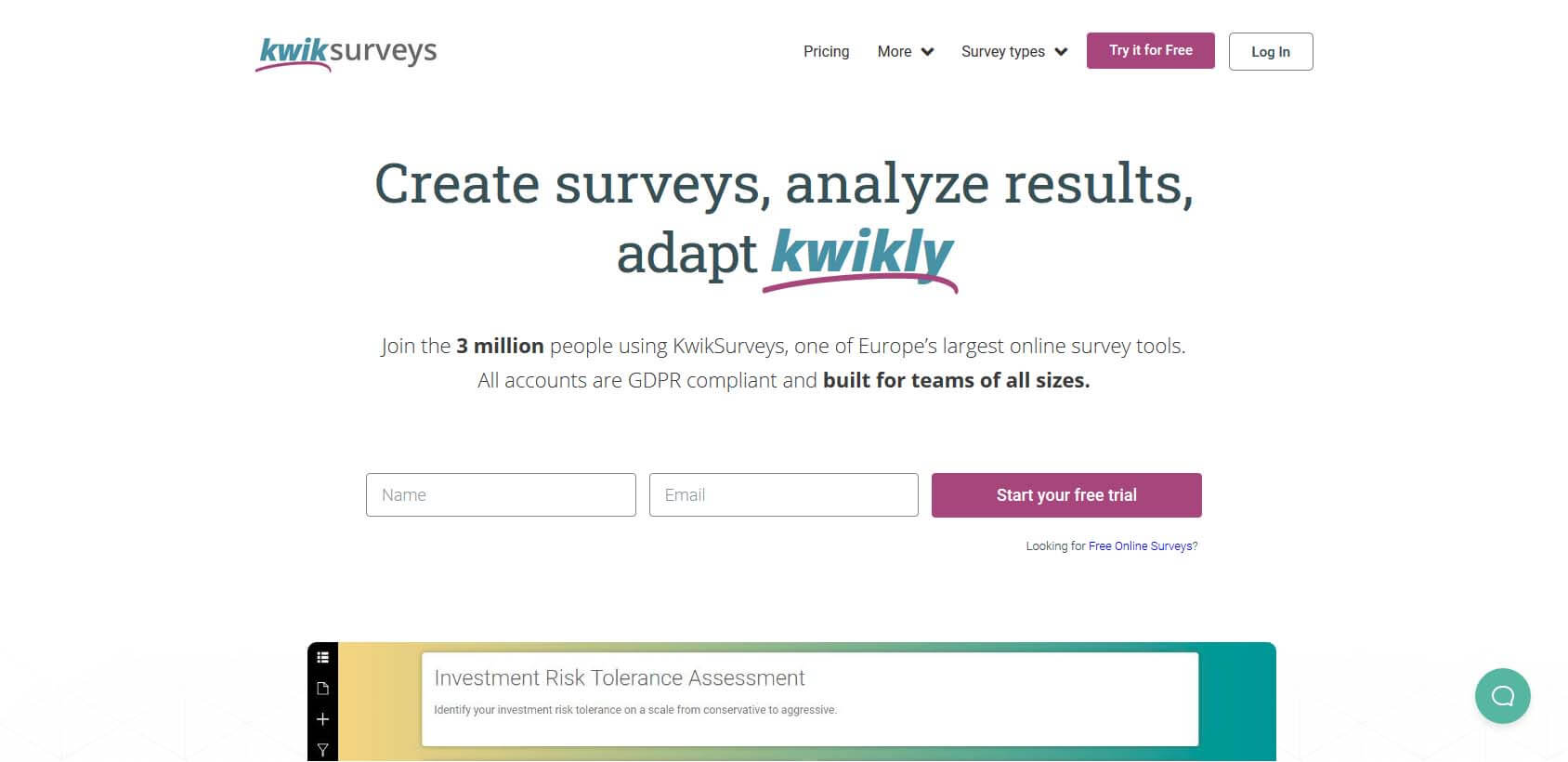 KwikSurveys homepage