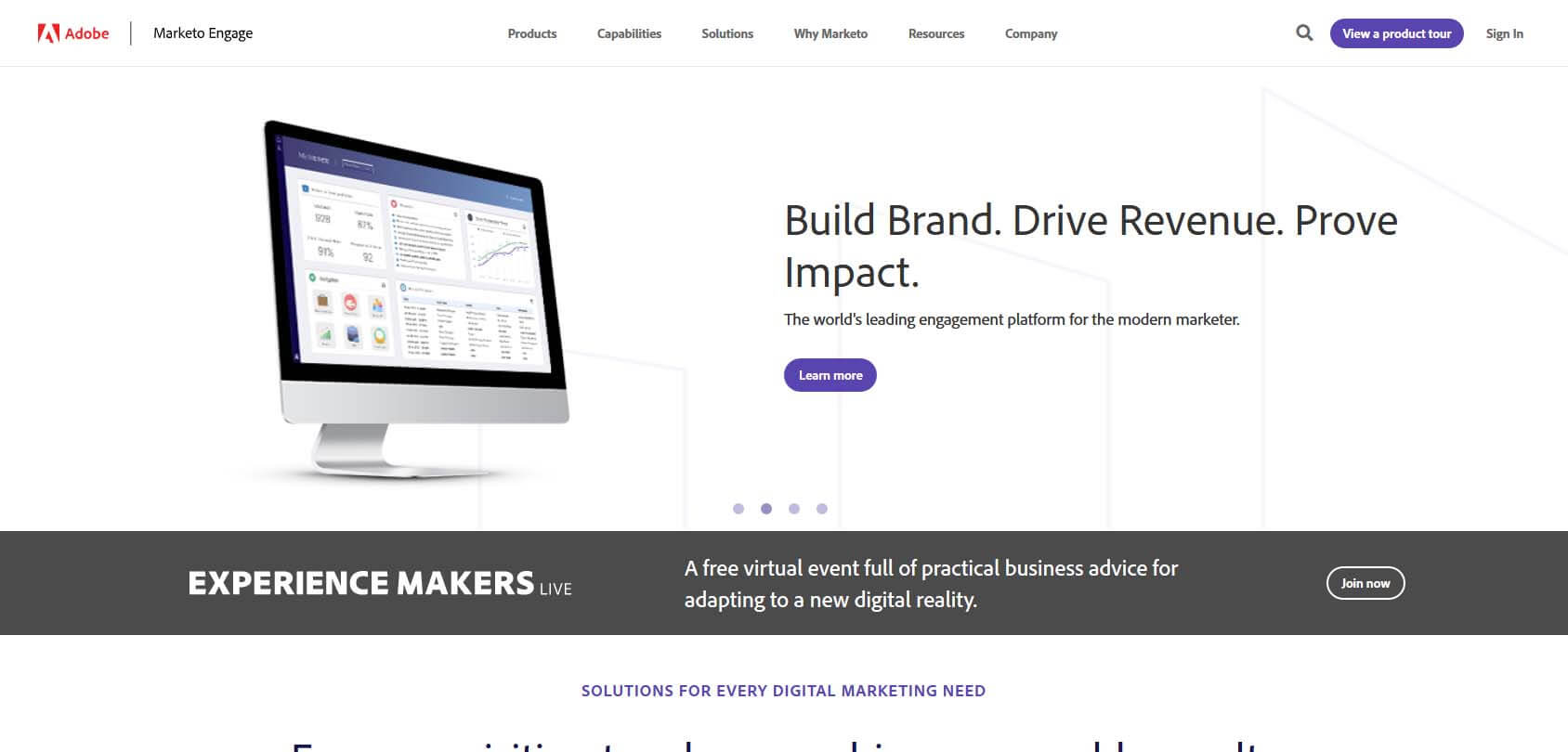 Marketo homepage