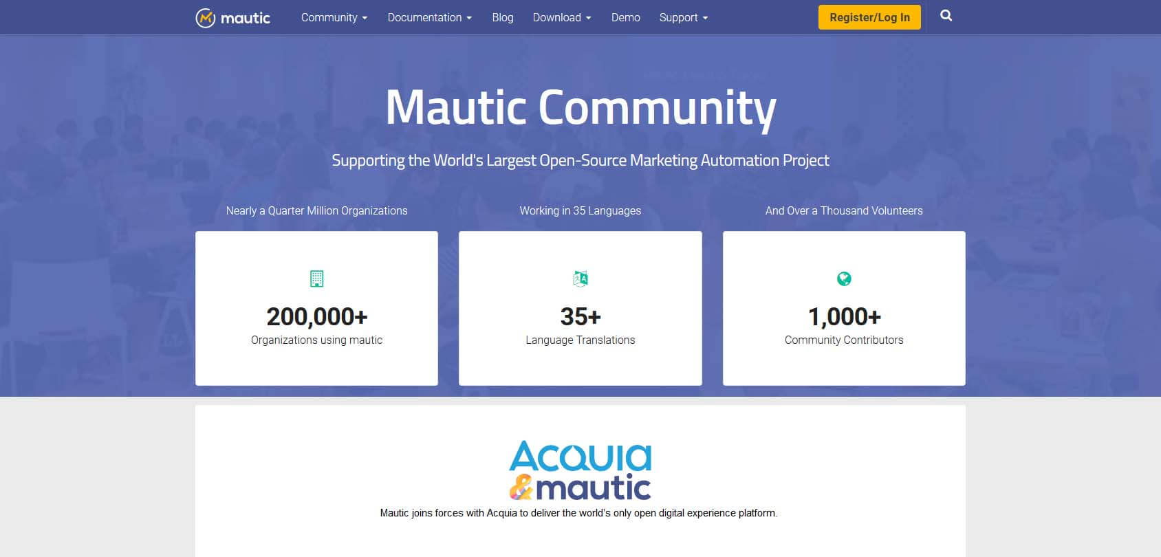 Mautic homepage