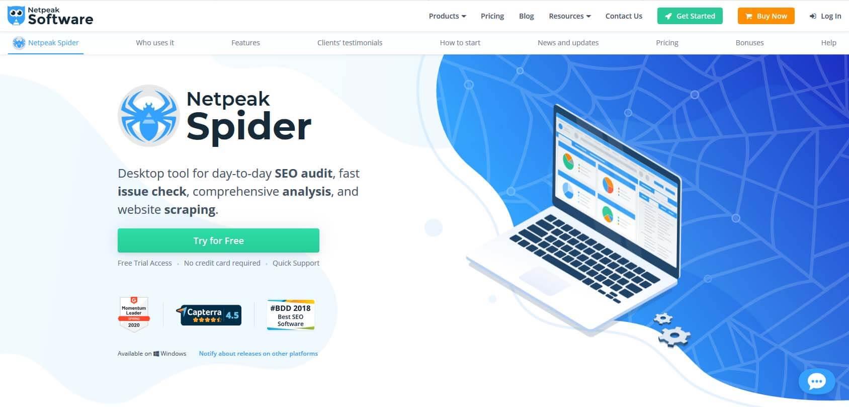 Netpeak Spider homepage