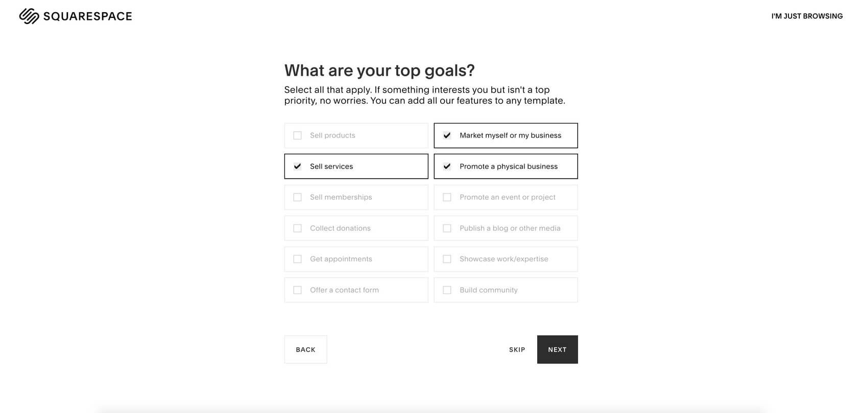 squarespace choose interests