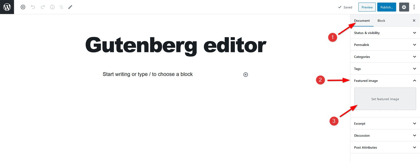 Add featured image in Gutenberg Editor