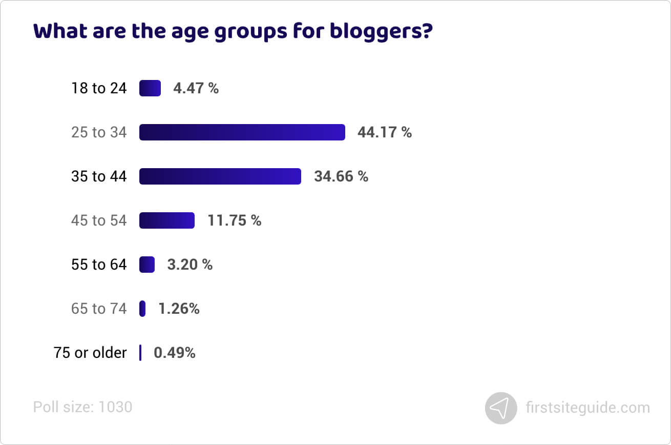 What are the age groups for bloggers