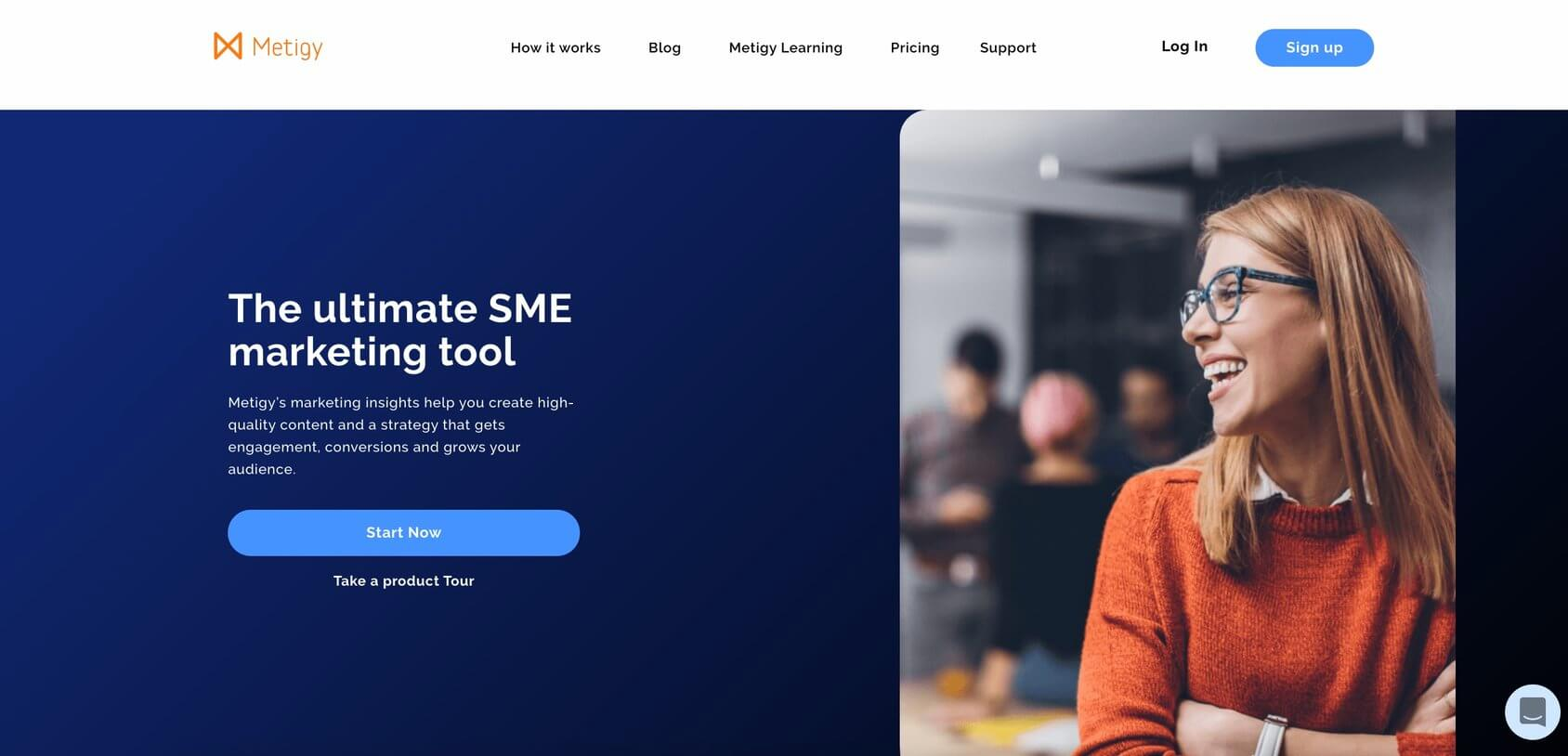 Metigy homepage