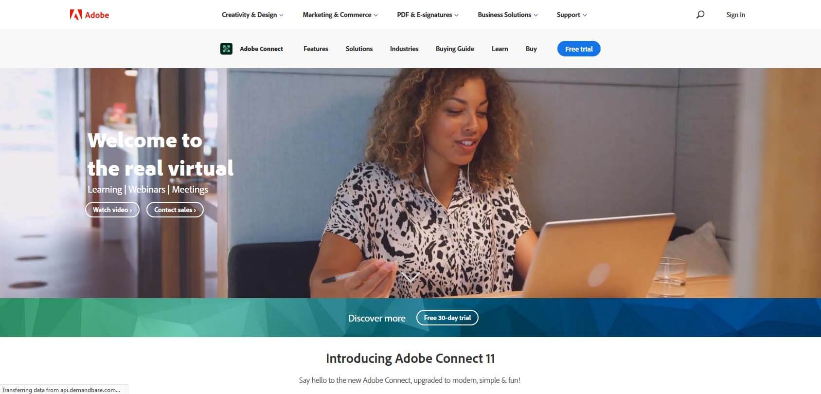 Adobe Connect homepage