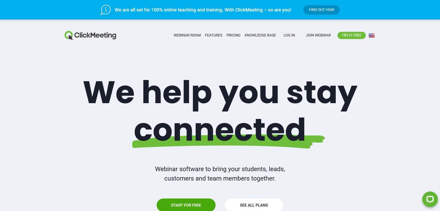 Click Meeting homepage