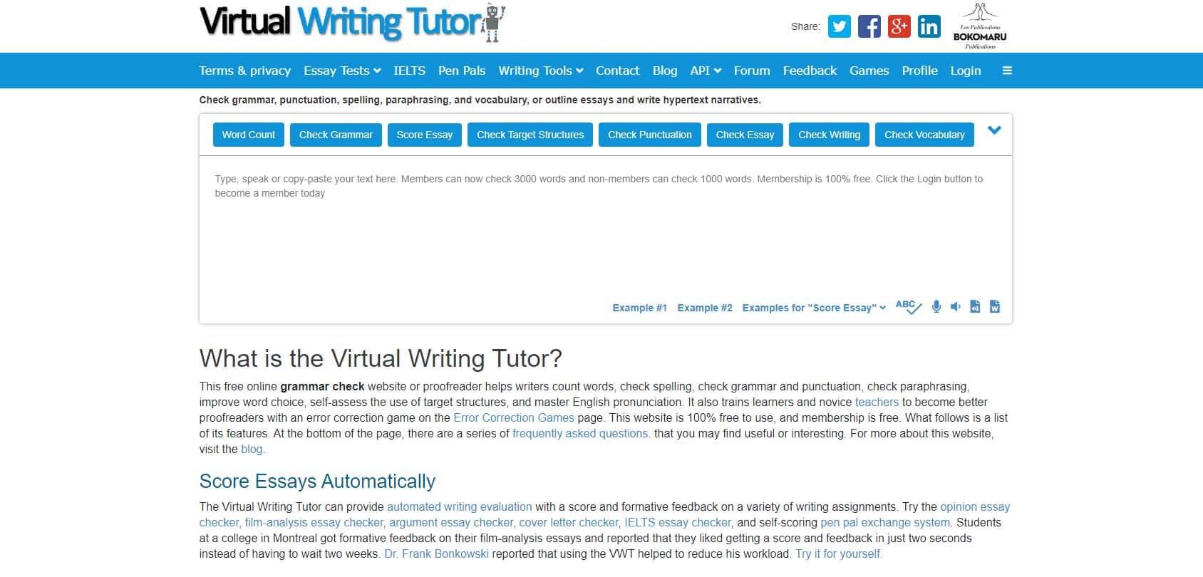 Virtual Writing Tutor homepage
