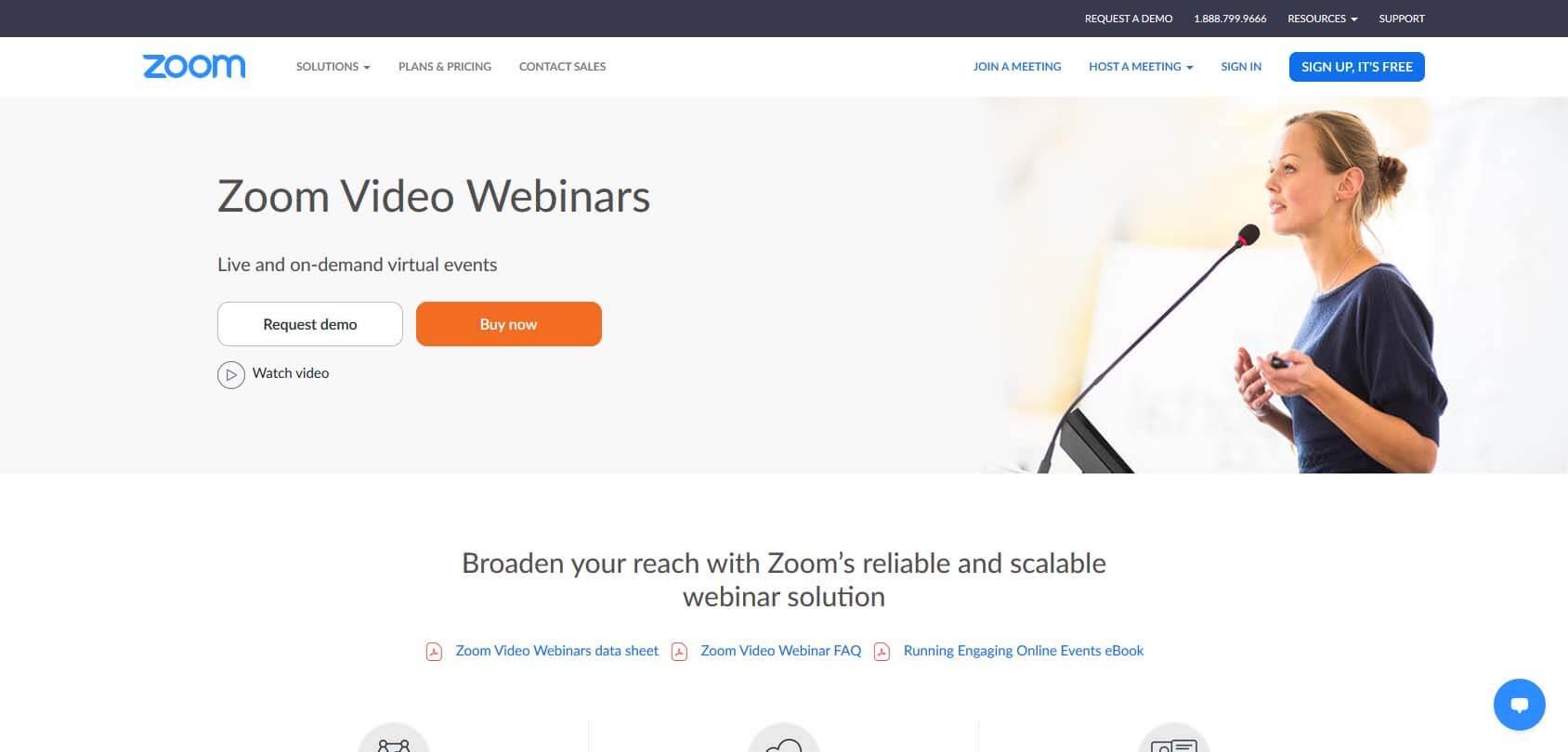 Zoom Webinar homepage