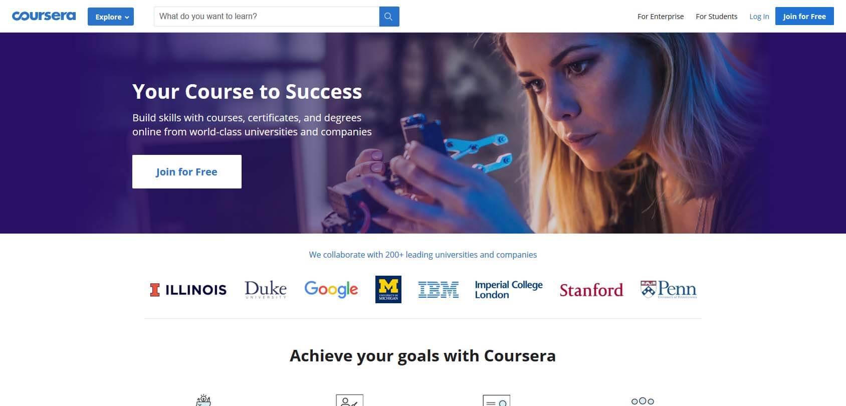 Coursera homepage