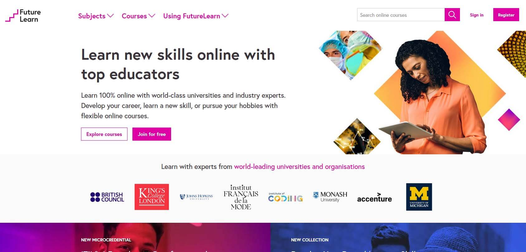 FutureLearn homepage