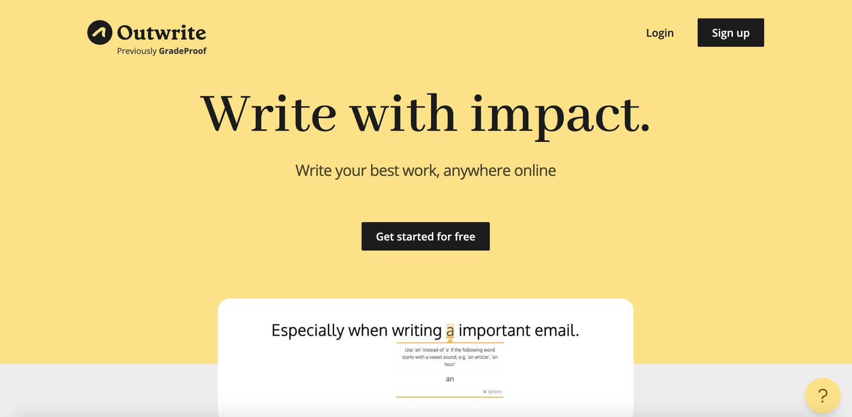 Outwrite tool homepage