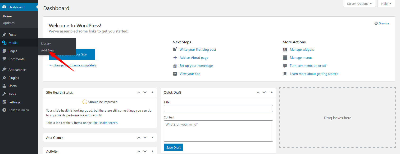 Add or Upload a Media File to WordPress media library
