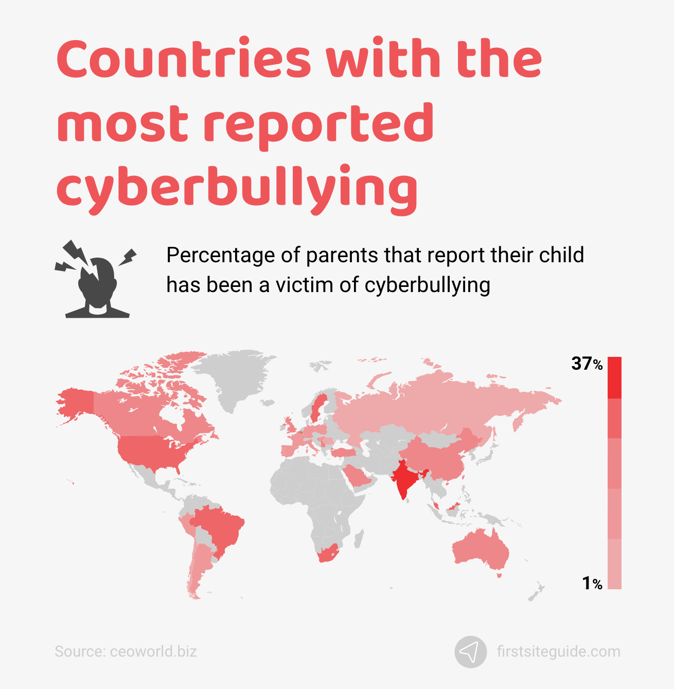 Countries with the most reported cyberbullying