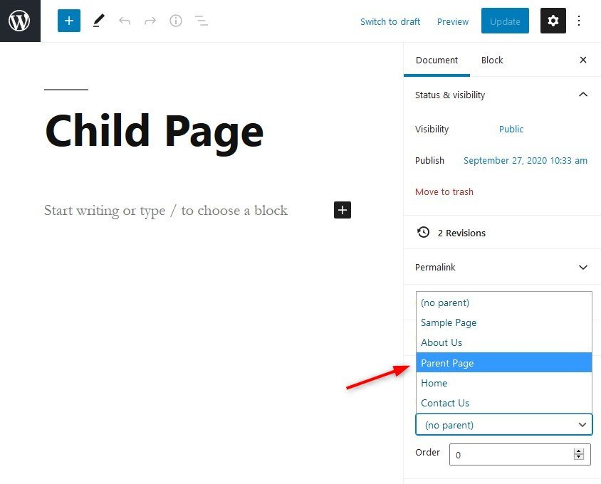 Create child page in Gutenberg editor