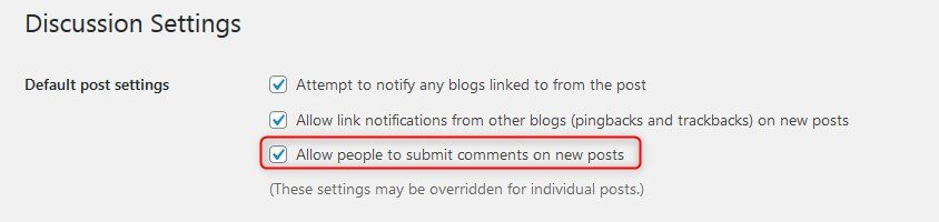 Enable/disable comments site wide