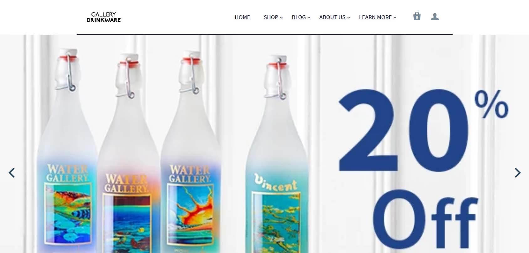 Gallery Drinkware homepage