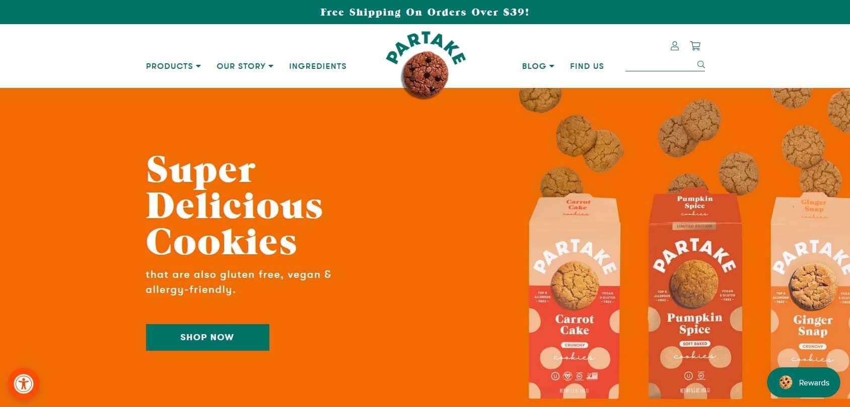 Partake Foods homepage