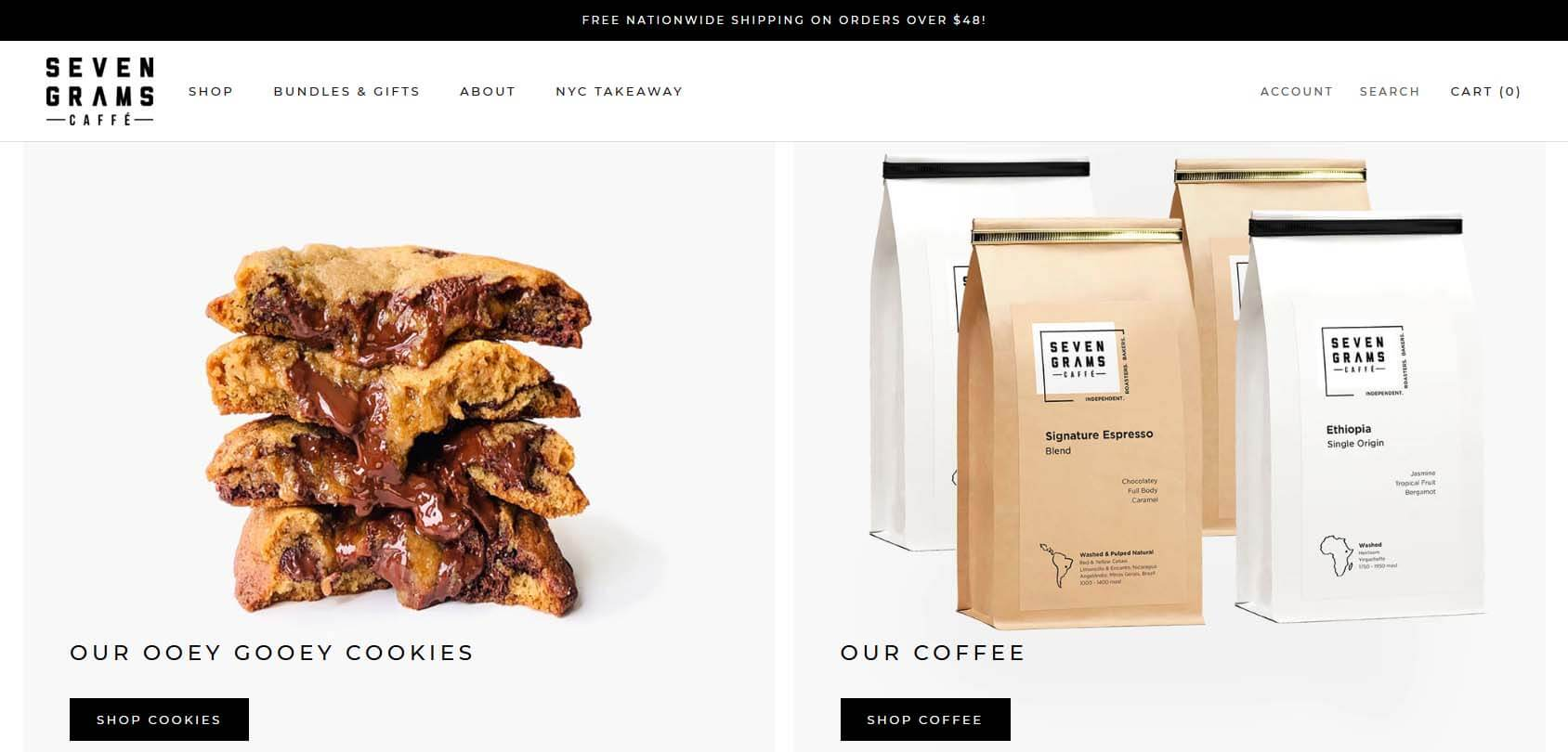 Seven Grams Caffe Homepage