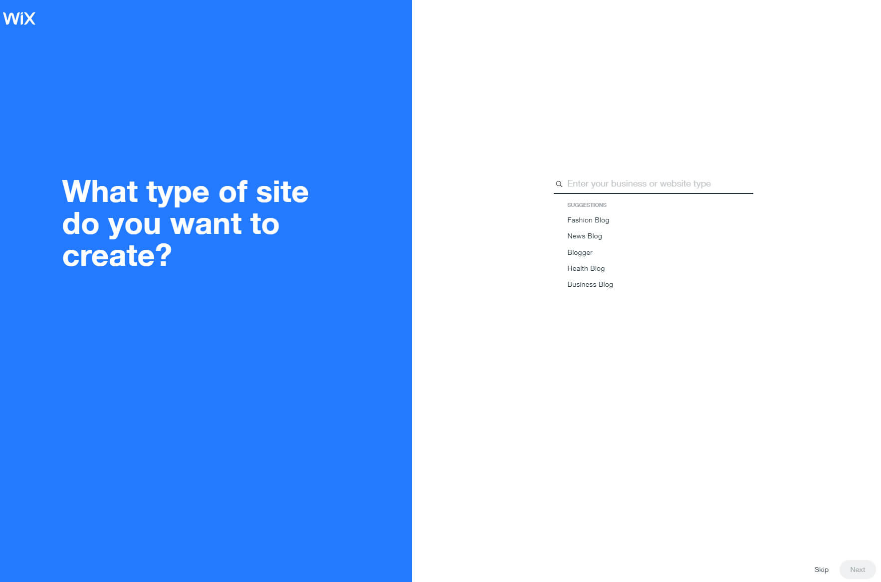 Choose type of site