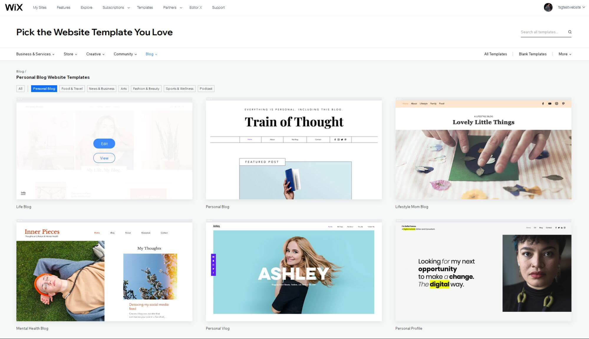 Pick the website template