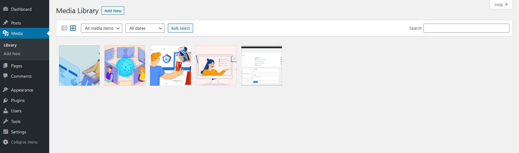 WordPress media library screen