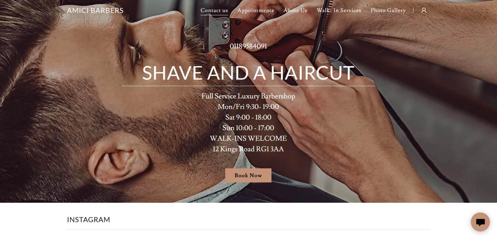 Amici Barbers Homepage
