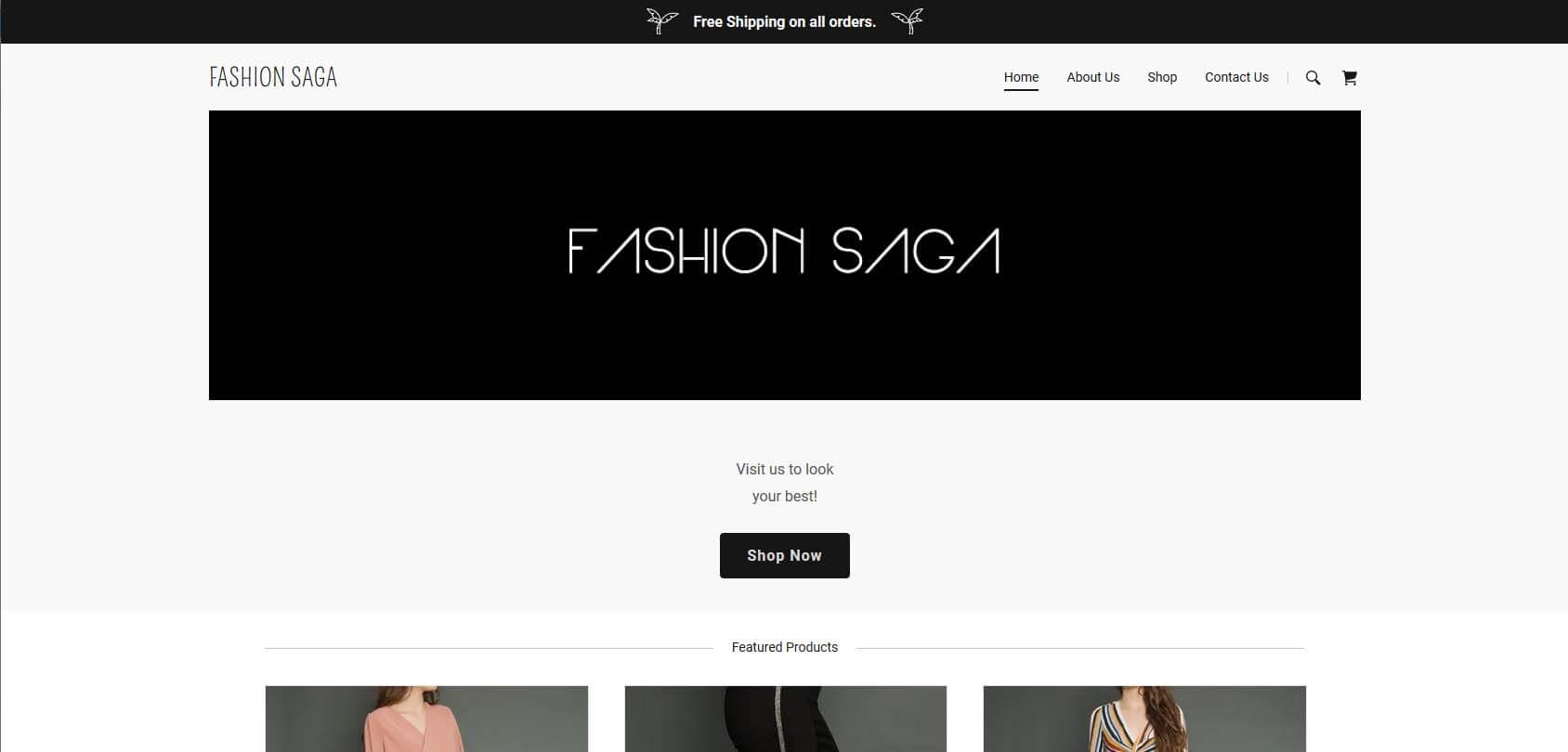 Fashion Saga Homepage