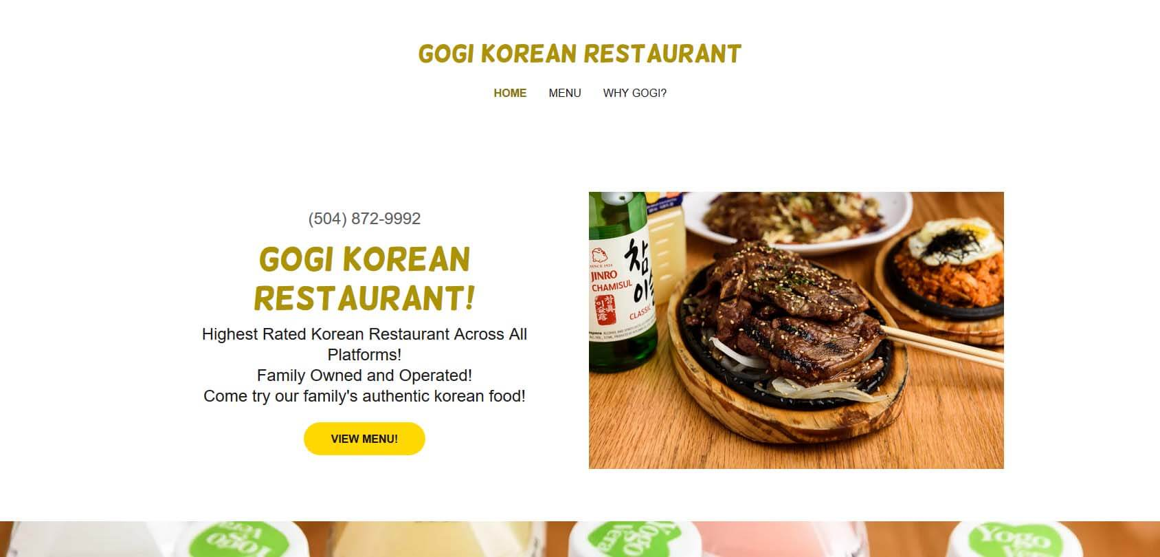 Gogi Korean Restaurant Homepage