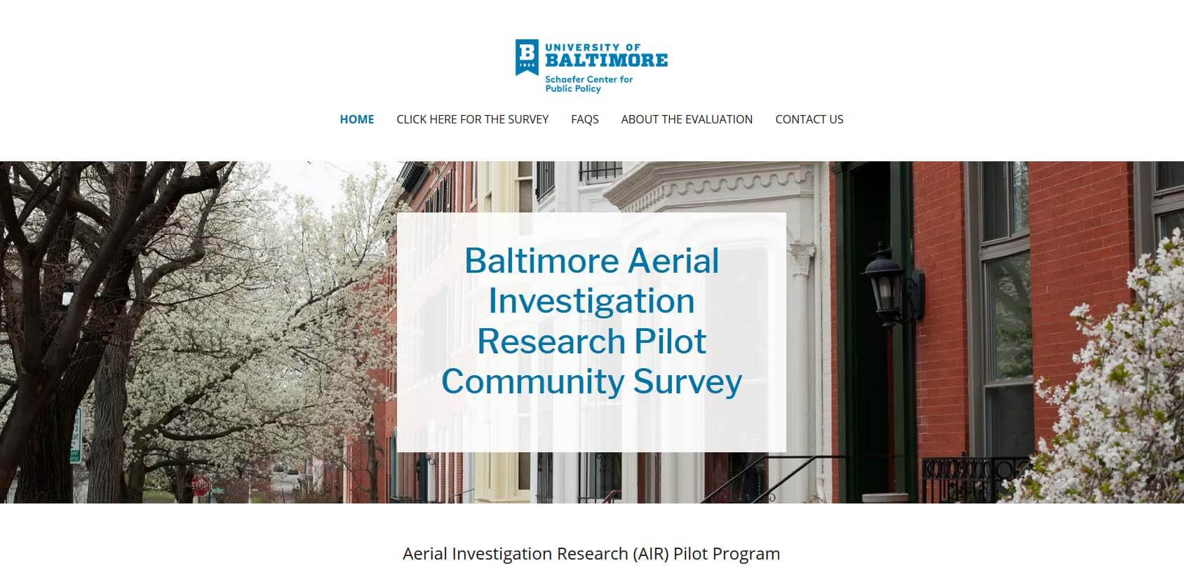 University of Baltimore Schaefer Center for Public Policy Homepage