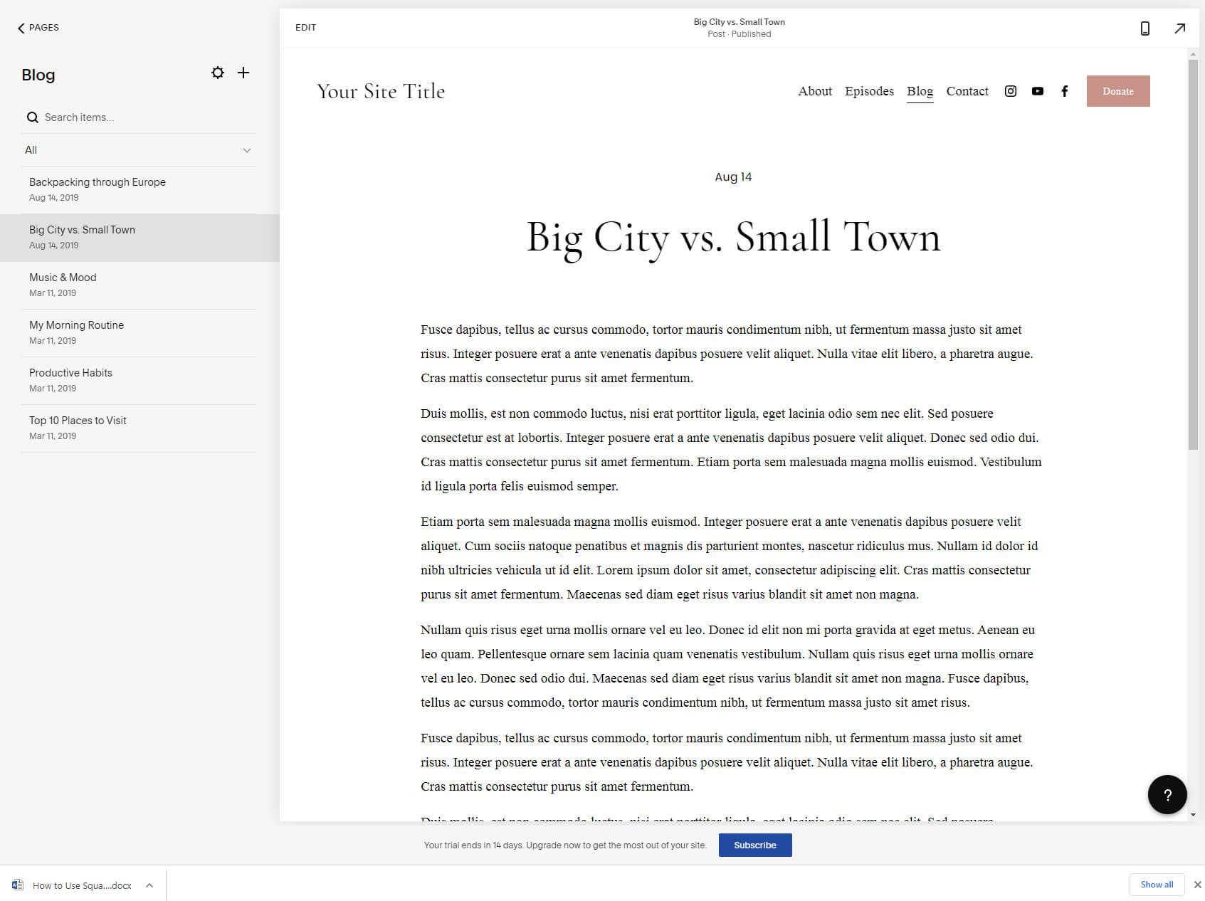 Squarespace blog list