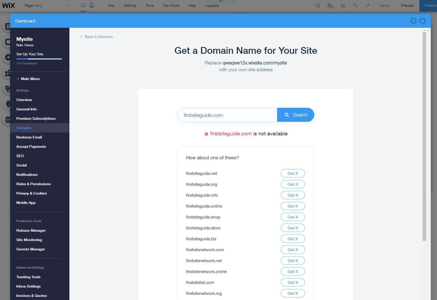 Wix domain
