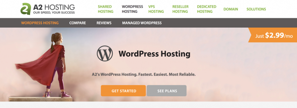 A2hosting WordPress hosting