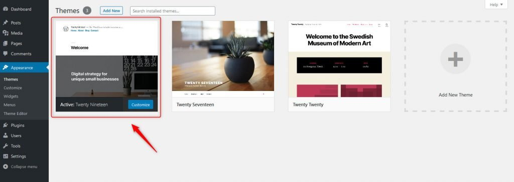 Active theme on WordPress