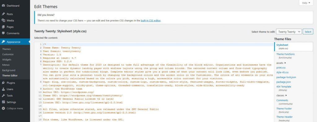 Theme editor submenu screen