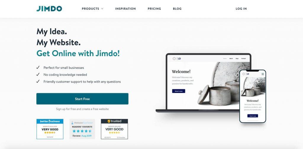 jimdo home page