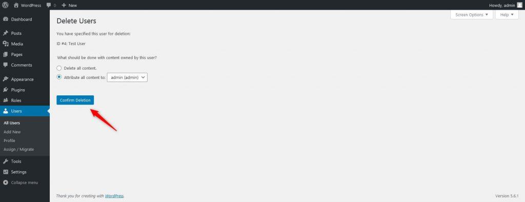 confirm user deletion