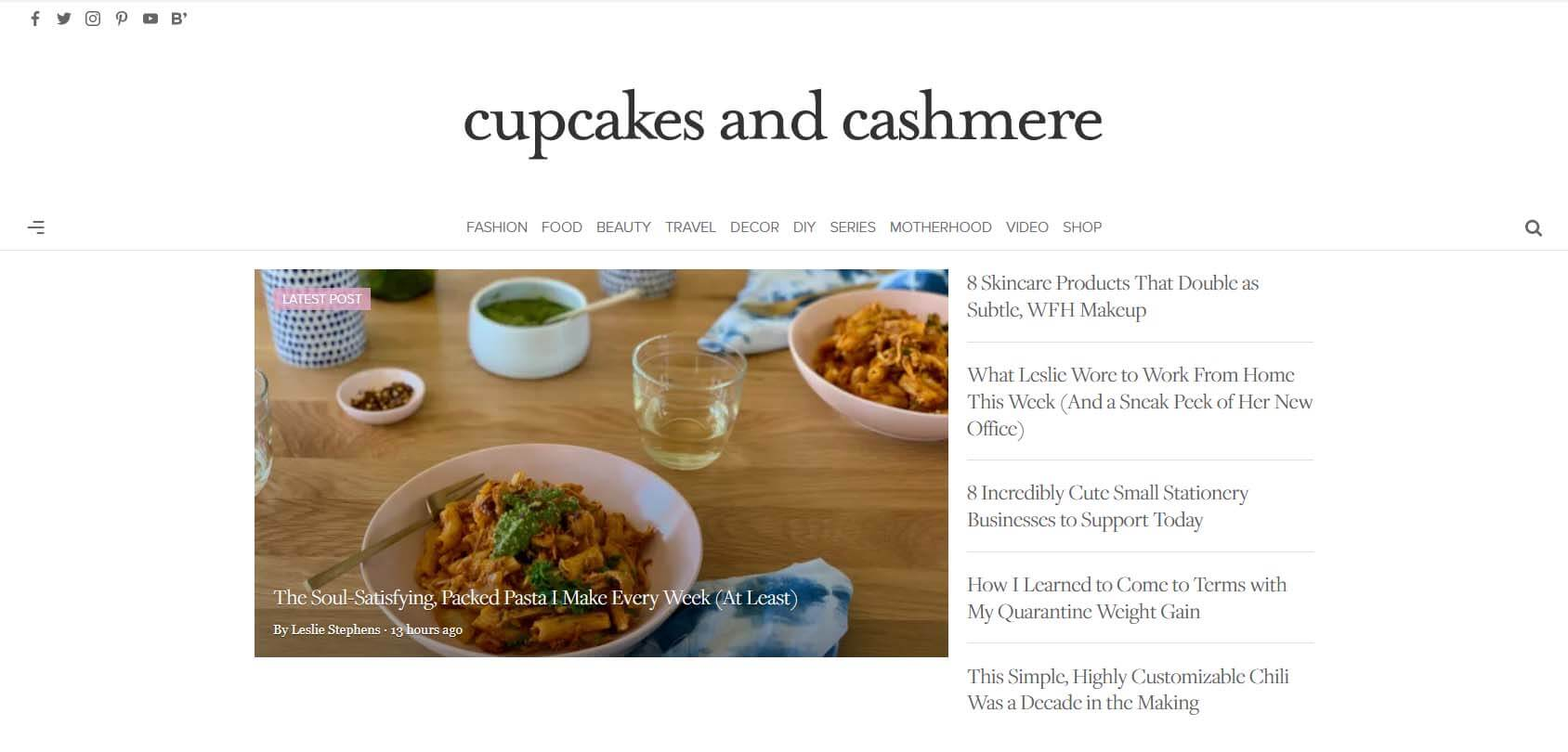 Cupcakes and Cashmere Homepage