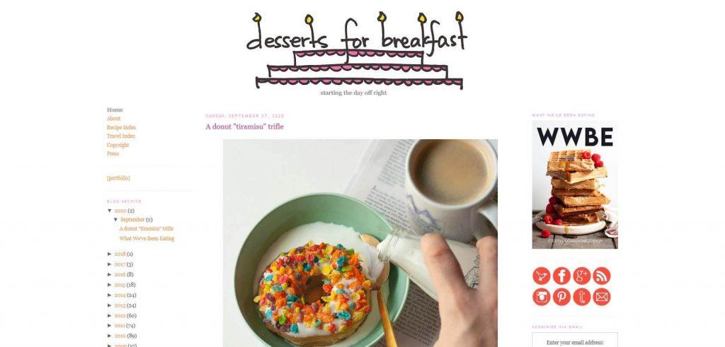 Desserts for Breakfast Homepage