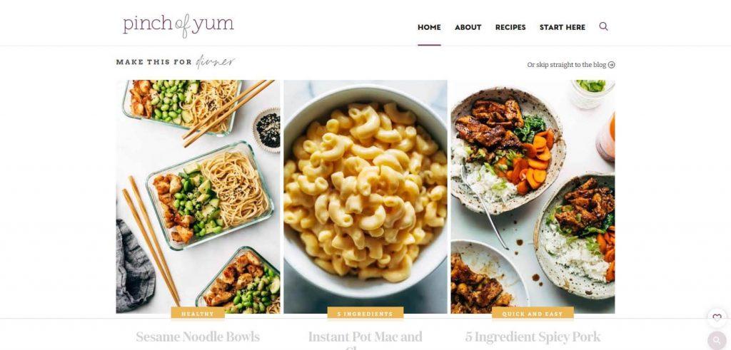 Pinch of Yum Homepage