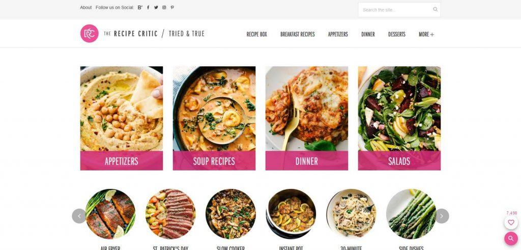 The Recipe Critic Homepage