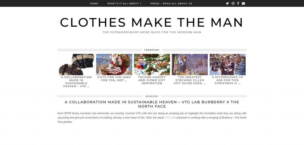 Clothes Make the Man Homepage