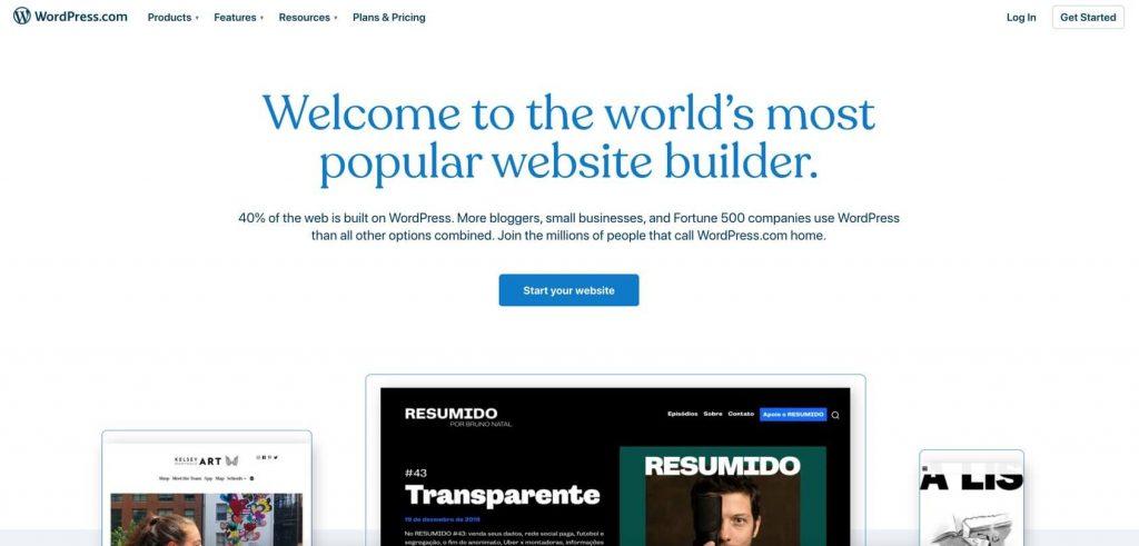 wpcom homepage