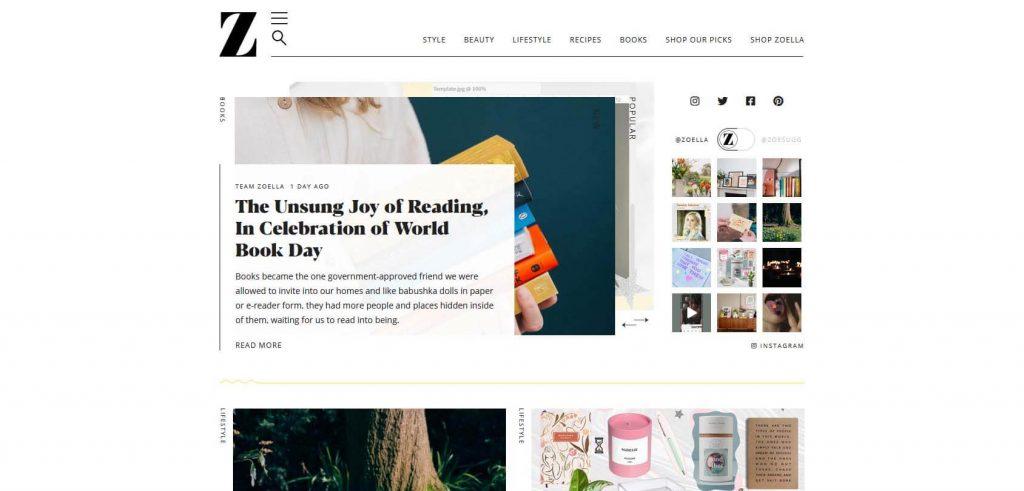 Zoella Homepage
