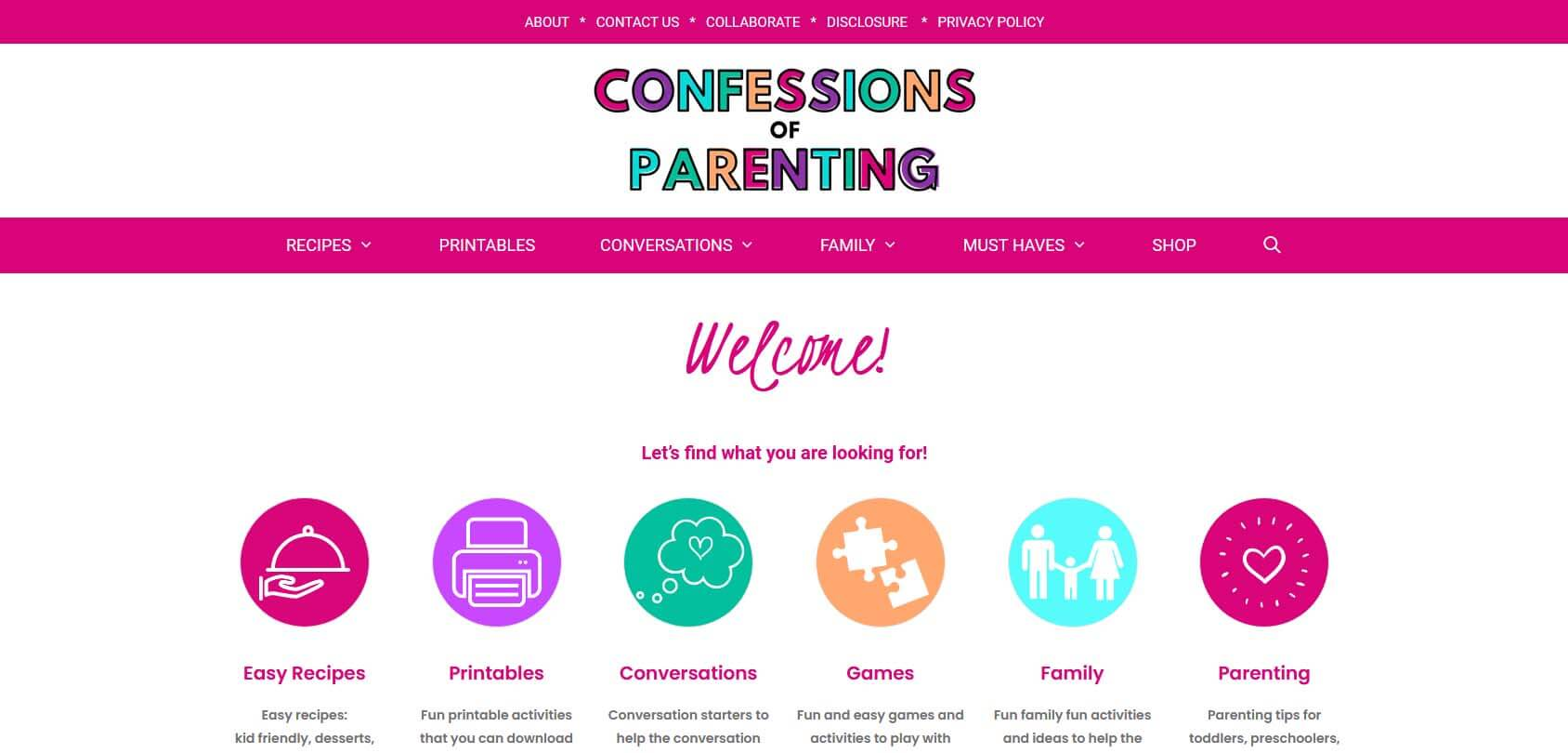 Confessions of Parenting Homepage