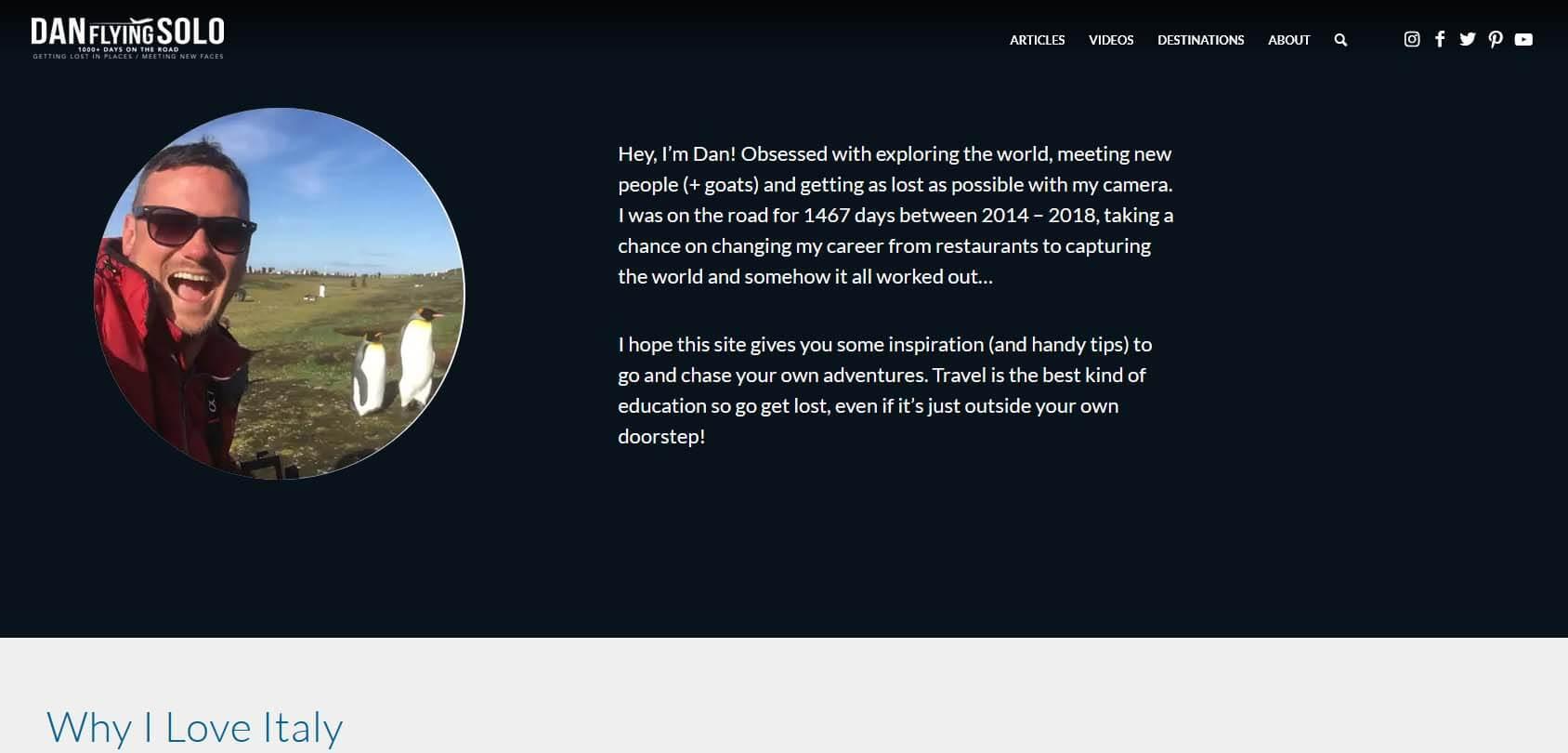 Dan Flying Solo Homepage