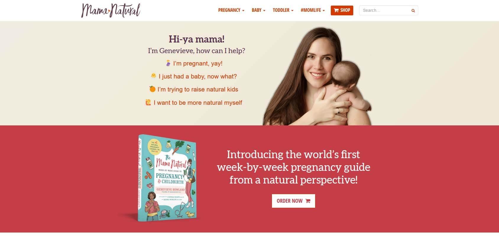 Mama Natural Homepage