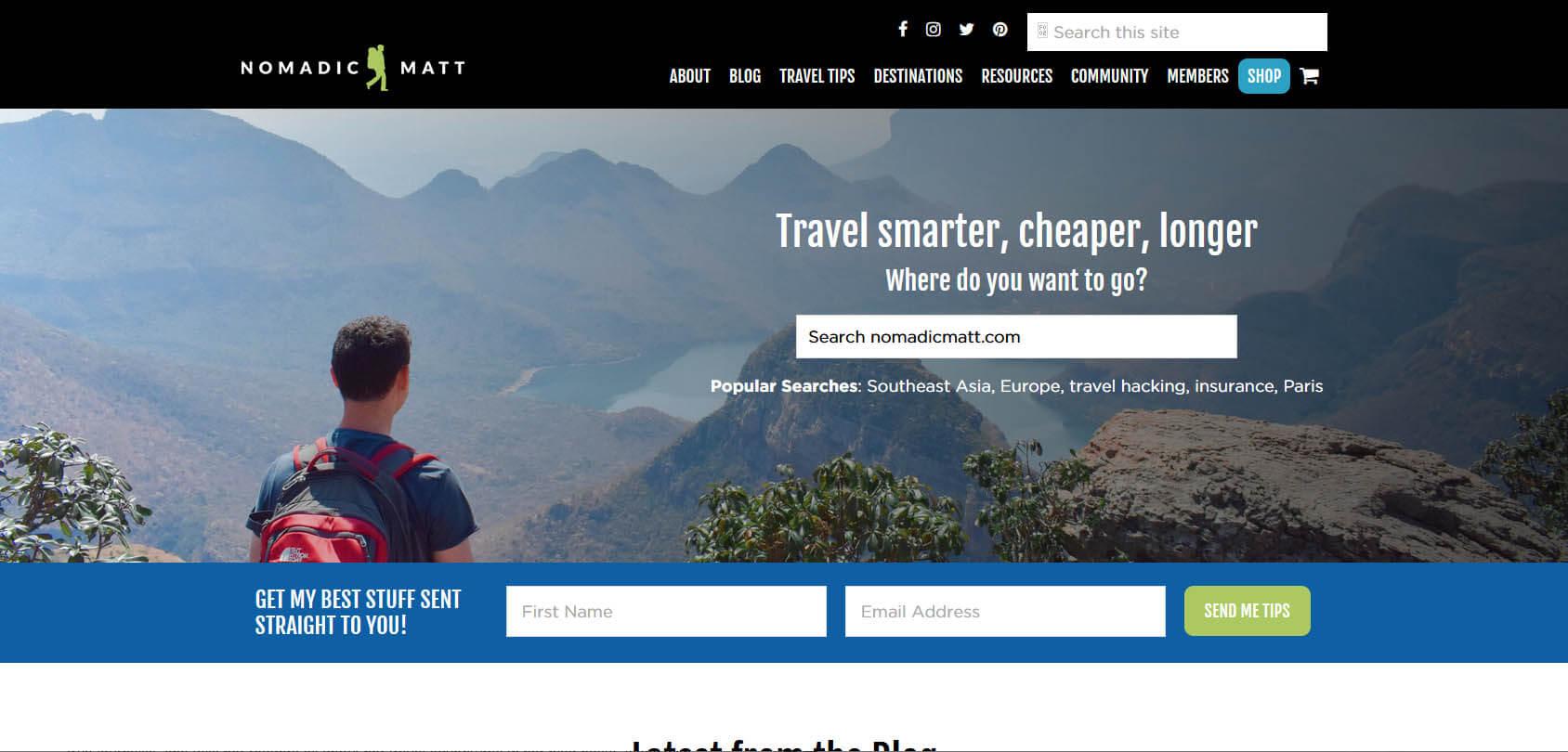 Nomadic Matt Homepage