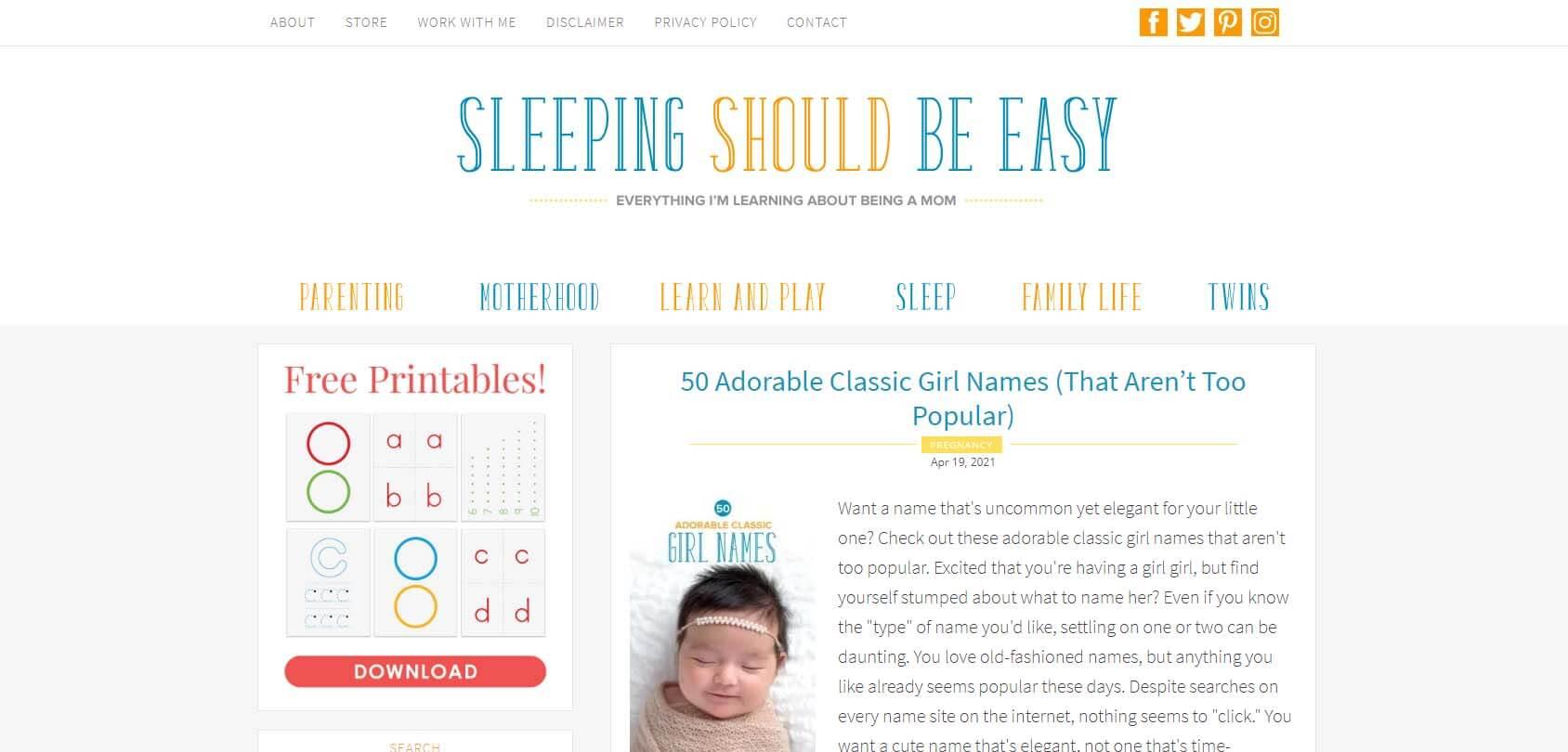 Sleeping Should Be Easy Homepage