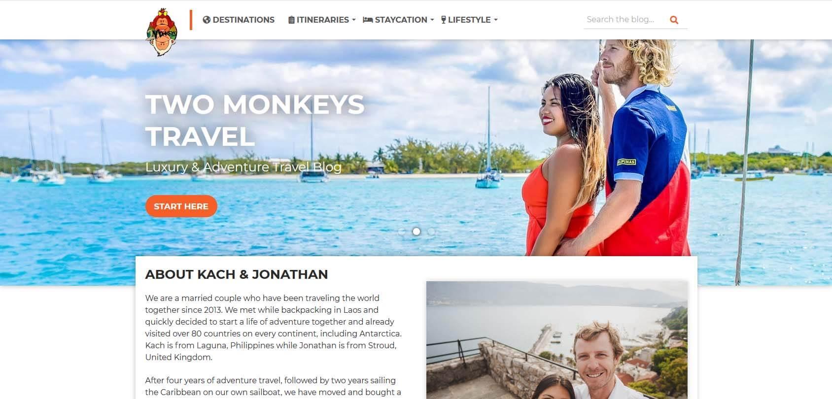 Two Monkeys Travel Homepage