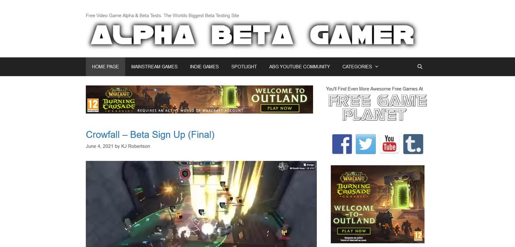 Alpha Beta Gamer Homepage